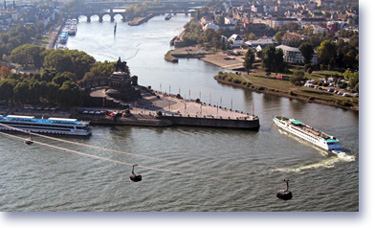 The German Corner in Koblenz - Confluence of the Rhine and Moselle river and the new cable car